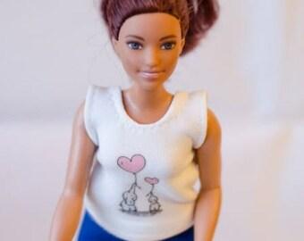 Curvy Barbie  clothes - handmade barbie clothes - barbie white top - curvy barbie clothes - curvy barbie top- graphic top -  barbie clothes