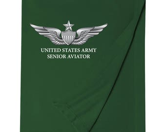 United States Army Senior Aviator Embroidered Blanket-7383