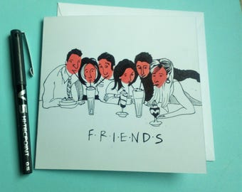 Handpainted Friends Card