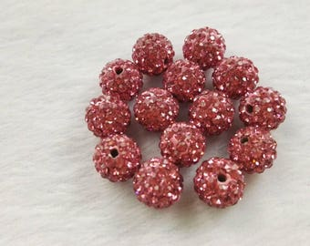 8mm 10mm Shamballa Spacer Beads , Rhinestone Disco Balls ,Dark Pink Shamballa Beads,Polymer Clay Beads ,DIY jewelry accessories ,Findings