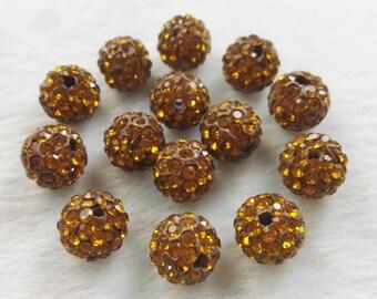 8mm 10mm Shamballa Spacer Beads , Rhinestone Disco Balls ,Dark Brown Shamballa , Polymer Clay Beads ,DIY jewelry accessories ,Findings