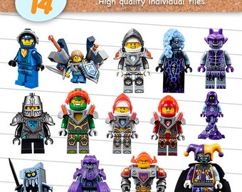 Lego Nexo Knights Clipart Files, Lego Nexo Knights PNG, PNG with Transparent Background, Scrapbook Images, Digital Download - CP-015