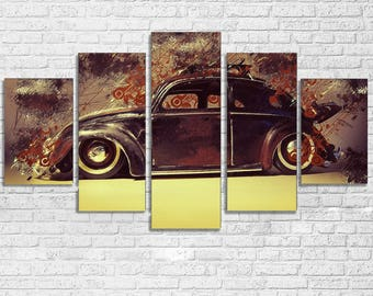 VW Beetle 5pc Wall Canvas
