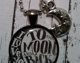 Black and White I Love You to the Moon and Back Necklace