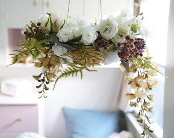 Aspen - Mobile, Baby Mobile, Flower Chandelier, Floral Wreath, Nursery, Decor, Baby Girl