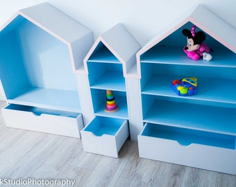 Kids toys and bookstand with drawers