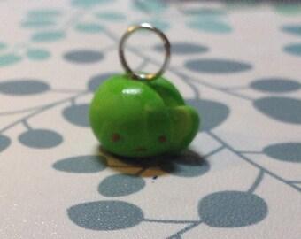 Sad sliced apple charm