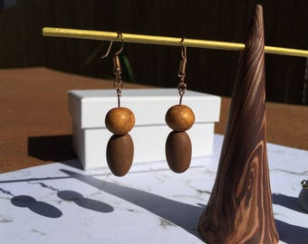 Bronze and Gold Polymer Clay Drop Earrings