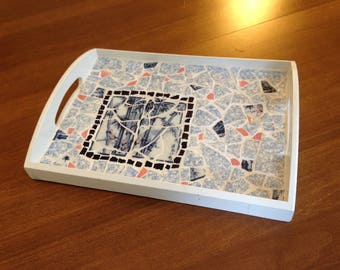 Blue Bamboo Broken China Mosaic Tray
