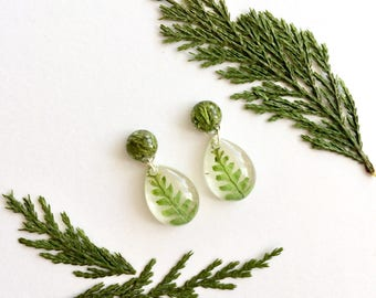 Resin Jewelry Real leaf and fern earring dangles, real leaf earrings, Botanical jewelry, Perfect gift for your loved ones, Botanical Jewelry