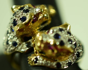 14kt Gold Leopard Ruby and Sapphire Ring