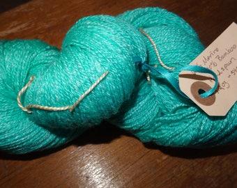 Hand spun Merino/Bamboo yarn - Luscious Turquoise 540 yds