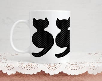 Cute Kitty Mug - Little Sitting Cat - 4 Designs Available - 11 Ounce Coffee & Tea Mug for Him and Her Valentine's Day Gift Cat Lovers