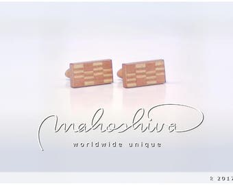 wooden cuff links wood flamed maple maple handmade unique exclusive limited jewelry - mahoshiva k 2017-45