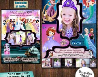 custom invitations, custom birthday party invites, disney invitations, princess birthday invitations, pirate invitations, party invitations