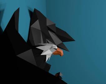 Papercraft Eagle, Paper Trophy, Paper Animal , Paper Craft DIY Eagle, Eagle Trophy, DIY template