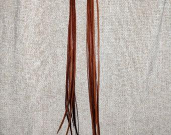 Feather Earrings - long skinny brown