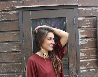 one feather earring BOHEMIEN STYLE/ tribal earring/feather jewelry/boho earring/gift for her/festival jewelry/native american earrings/