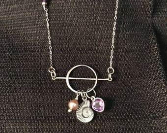 Sterling Silver Shell, Amethyst Heart, and Pink Pearl Necklace