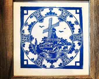 Delft Style Windmill Lino Print