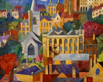 Bradford on Avon, Oil Painting by Amy Yates