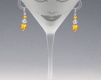 Lola Martini Glass - Handmade Topaz Swarovski Earrings - great girlfriend glass, bridesmaid glass, or my own special glass!