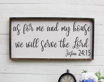 As For Me And My House We Will Serve The Lord Entryway Decor Farmhouse Decor Foyer Rustic Entryway Decor Large Signs Farmhouse Signs