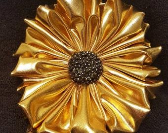 Gold Metallic Fabric Brooch Pin