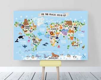 Kids world map etsy kids world map nursery animal world map for kids printable world map poster kids wall map gumiabroncs Images