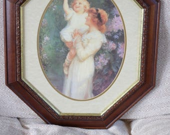 Vintage print 'Blossom Time' in rare and unusual octagonal frame