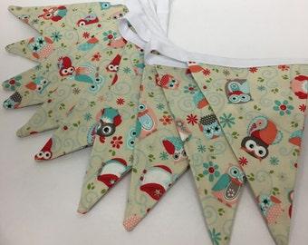 Owl Print Cotton Fabric Bunting