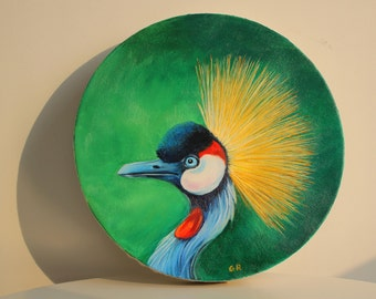 Oil Painting of a Grey Crowned Crane on a Green Background