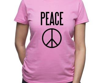 Peace T-shirt/ Hippie tshirt/ Peace sign t shirt/ Love shirt/ Festival tshirt/ tumblr tee/ graphic tee/ Women shirt/ Women's tee/ (Q82)