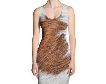 Deer Dress - Deer Fur Print Dress - Fawn Dress - Deer Costume - Deer Leggings - Animal Costume - Womens Dress - Animal fur
