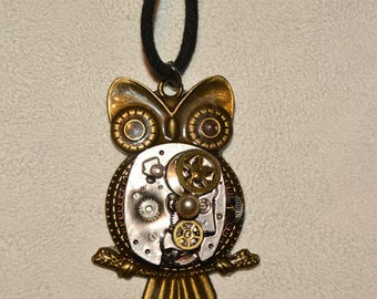 Steampunk recycled cog owl necklace clockwork owl upcycled with watch cogs  pendant steampunk  cogs and gears