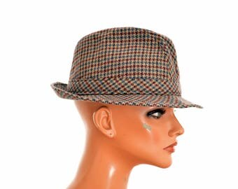 """vintage FEDORA HAT by Artisan Hats / circumference 52 cm or 20.5"""" / wool houndstooth"""
