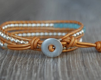 Silver and Blue Beaded Leather Wrap Bracelet