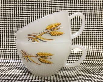 Vintage Glass Fire King Wheat Pattern coffee cup