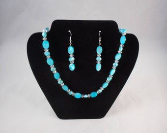 Blue and Crystal Necklace and Earrings - Women's Jewelry