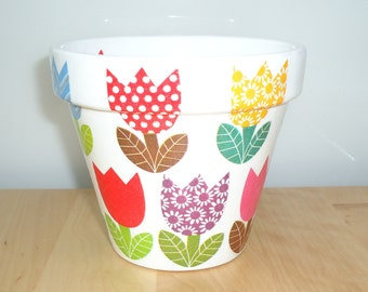 Hand Painted and Decoupaged Plant Pot