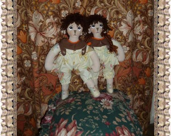 """Soft sculpture Rag doll sewing pattern Wendy and William 20"""" Tall"""