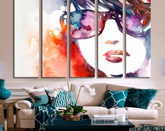 Abstract Watercolor Portrait Watercolor Wall Art Watercolor Canvas Print Watercolor Large Wall Decor Watercolor Canvas Watercolor Poster