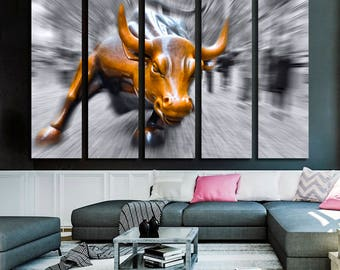Charging Bull Motivational Canvas Wall Art Ready to Hang modern canvas artwork - Entrepreneur Money Art