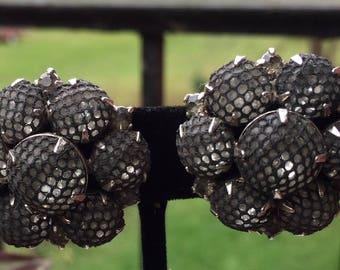 Vintage Kramer Black Net Over Clear Rhinestone Earrings