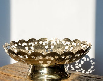 Brass Bowl on Foot / Pedestal based,  Footed, Pierced Brass Floral Bowl