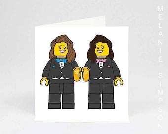 Lesbian LESGO Lego wedding archival museum quality art print cotton card