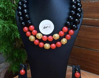 Royal Black and Red jewellery set