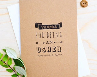 Usher Thank You Card - Wedding Thank You Card - Wedding Card - Groomsman Card - Thank you Groomsman - Usher Card - KRAFT CARD