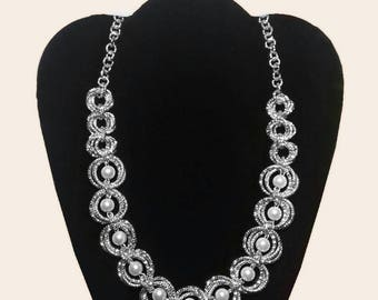 Necklace in Chainmaille, floral motif, biemme