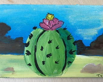 Cactus - Miniature Acrylic Painting and Magnet